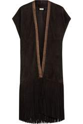 Talitha Fringed Suede Vest Dark Brown