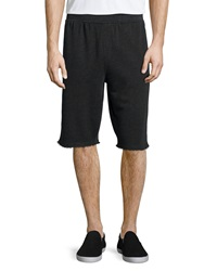 Atm Raw Edge Knit Sweat Shorts Charcoal