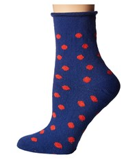 Plush Thin Rolled Fleece Socks Navy Red Polka Dot Women's Crew Cut Socks Shoes Multi