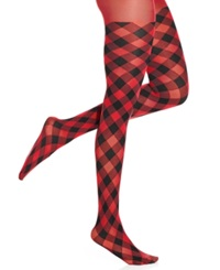 Hue Opaque Tights Red Plaid