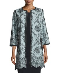 Andrew Gn 3 4 Sleeve Lace Coat Sky Blue