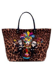 Dolce And Gabbana Dgfamily Embellished Leopard Print Tote