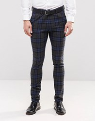 Asos Super Skinny Trousers In Blue Check Navy Beige