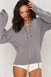 Nasty Gal Mine Or Yours Lace Up Sweater