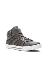 Versace Zipper Detail High Top Leather Sneakers In Gray