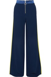 Off White Satin Trimmed Crepe Wide Leg Pants Blue