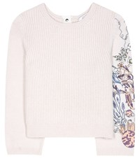 Dorothee Schumacher Fantastic Moment Embroidered Cashmere Sweater White