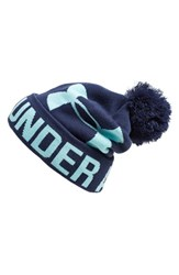 Women's Under Armour Logo Pompom Beanie Blue Blue Knight Veneer