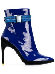 Off White For Walking Ankle Boots Leather Rubber Blue