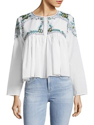Kas Mallory Embroidered Cotton Blouse White Blue