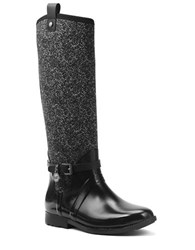 Michael Michael Kors Charm Stretch Vachetta Leather And Tweed Rainboots Black White