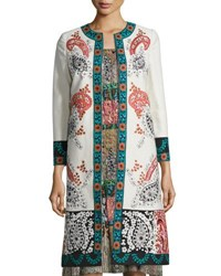 Oscar De La Renta Embroidered Bracelet Sleeve Coat Topper Beige