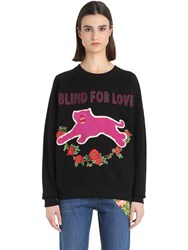 Gucci Panther Embroidered Cotton Sweatshirt