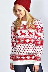 Boohoo Hollie Reindeer And Snowflake Christmas Jumper Cream