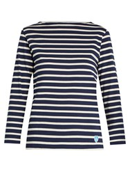 Orcival Breton Striped Cotton Top Navy White