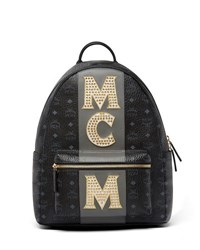 Mcm Stark Men's Stripe Studs Backpack Black