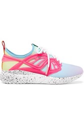 Sophia Webster Fly Bi Rubber And Leather Trimmed Neoprene Sneakers Pink