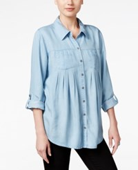 Styleandco. Style Co. Denim Tab Sleeve Shirt Only At Macy's Ice Wash