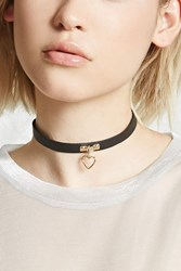 Forever 21 Faux Leather Heart Charm Choker Gold Black
