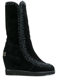 Mou Wedged Eskimo Boots Black