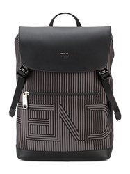 Fendi Logo Backpack Men Cotton Leather Nylon One Size Black