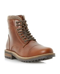 Linea Carter Lace Up Worker Boots Tan