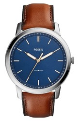 Fossil Men's Minimalist Leather Strap Watch 44Mm Brown Blue Silver