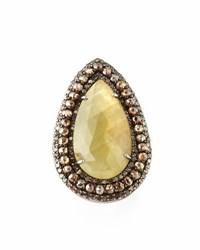 Bavna Yellow Sapphire And Champagne Diamond Teardrop Ring