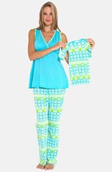 Women's Olian 3 Piece Maternity Sleepwear Gift Set Blue
