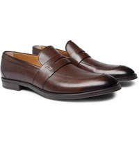 Hugo Boss Coventry Burnished Leather Penny Loafers Brown