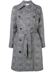 Kiltie Plaid Double Breasted Coat Grey