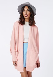 Missguided Oversize Batwing Slouch Cardigan Pale Pink