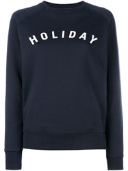 Holiday Logo Printed Cotton Sweatshirt Blue