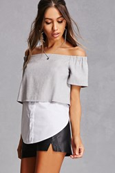 Forever 21 Off The Shoulder Combo Top Grey White