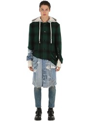 Greg Lauren Hunter Wool And Vintage Denim Coat Green Blue
