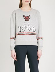 Maje Butterfly Embellished Stretch Jersey Sweatshirt Grey