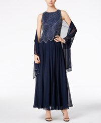 J Kara Sleeveless Beaded Chiffon Gown And Shawl Navy