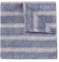 Brunello Cucinelli Double Faced Printed Linen And Cotton Blend Pocket Square Blue