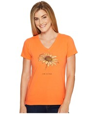 Life Is Good Daisy Crusher Vee Tropical Orange Women's T Shirt Black