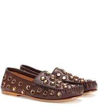 Acne Studios Jackson Stone Leather Loafers Brown