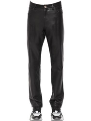 Versace 17Cm Slim Fit Leather Pants Black