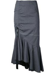 Irene Washer Herringbone Skirt Women Cotton Linen Flax Polyurethane Wool 34 Grey