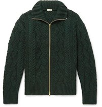 Camoshita Cable Knit Wool Zip Up Cardigan Green