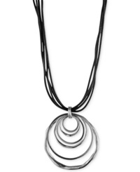 Jones New York Silver Tone Orbital Pendant Necklace