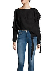 Vivienne Westwood Checked Long Sleeve Cotton Blouse Black