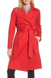 Trina Turk Brystl Gun Flap Trench Coat Red