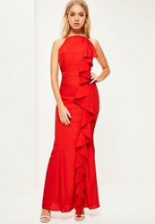 Missguided Red Frill 90'S Neck Maxi Dress