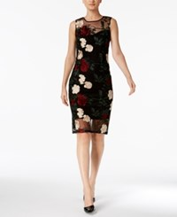 Calvin Klein Petite Embroidered Illusion Sheath Dress Black Multi