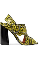 3.1 Phillip Lim Patsy Studded Snake Effect Leather Sandals Yellow