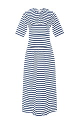 Marni Cotton Short Sleeved Striped Maxi Dress Blue